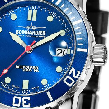 Bombardier Ladies DEEPDIVER Blue, Rubber Strap