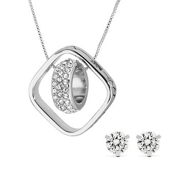 Pica LéLa LOVE GEOMETRY Necklace + Zirconia Stud Earring Set
