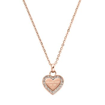 Michael Kors BRILLIANCE Necklace with Heart Charm - Rose Gold